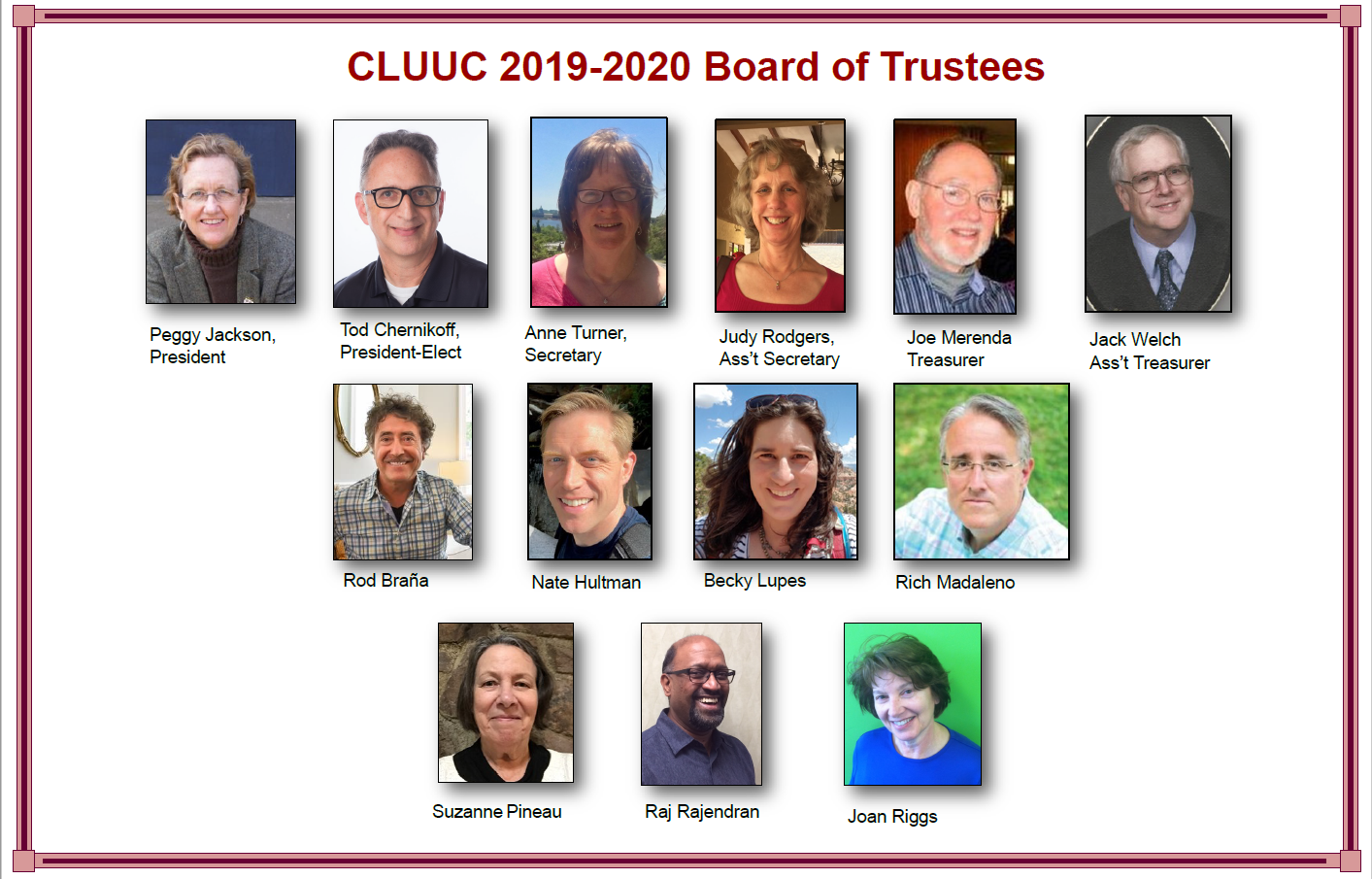 Board of Trustees 2019-2020 with photos and names