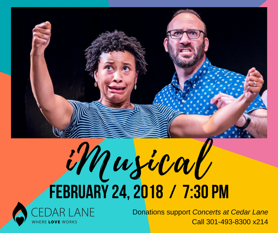 graphic for upcoming iMusical improv concert at Cedar Lane on February 24, 2018 at 7:30 pm