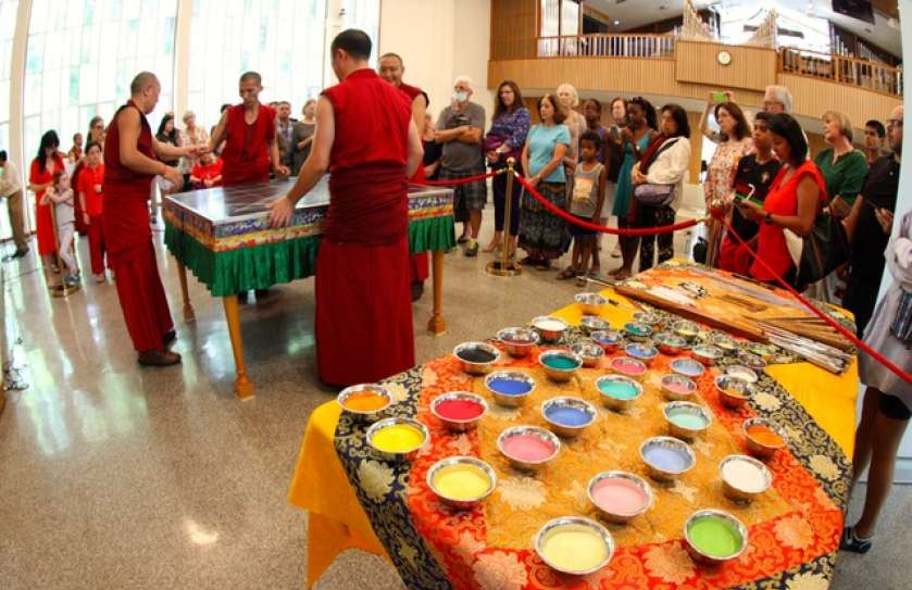 monks at the opening ceremony at Cedar Lane, starting to build the sand mandala