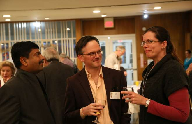 two cedar lane members with Rev. Abhi Janamanchi at the Auction 2017