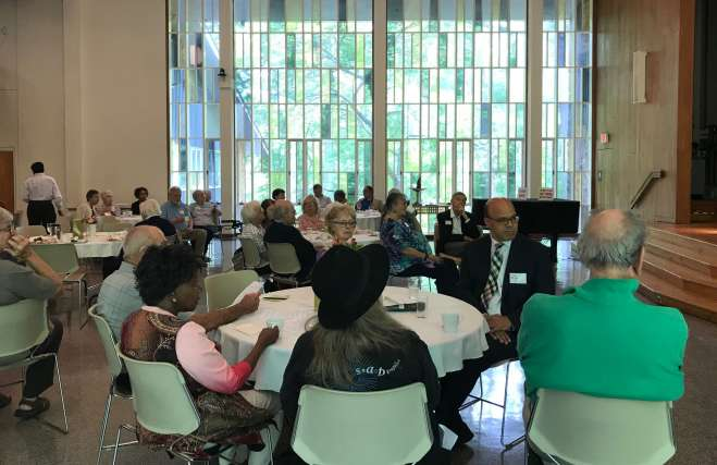Alliance members at a monthly luncheon and talk in the Sanctuary at Cedar Lane