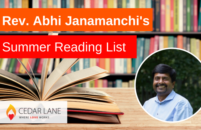 "graphic with a background of books and a framed circular photo of Rev. Abhi Janamanchi with titling ""Rev. Abhi Janamanchi's Summer Reading List"""