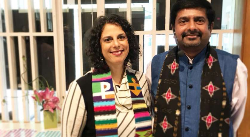 Rev. Abhi Janamanchi & Rev. Katie Romano Griffin in the Sanctuary on a Sunday