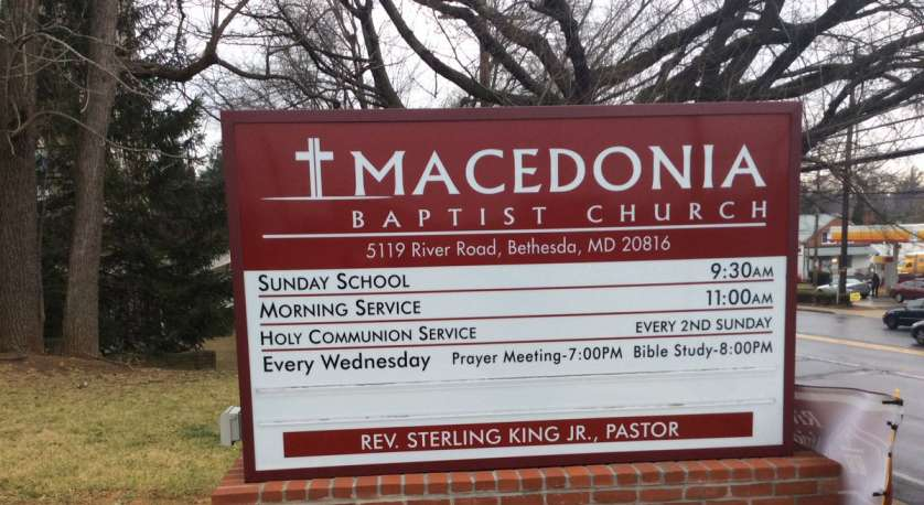 photo of the entrance sign for Macedonia Baptist Church on River Road in Bethesda