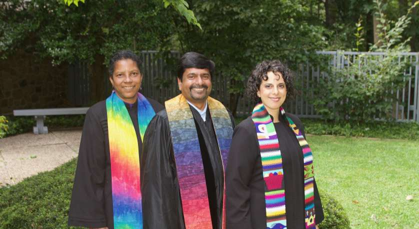 Group shot of Cedar Lane's ministers: Rev. Archene Turner, Rev. Abhi Janamanchi, and Rev. Katie Romano Griffin