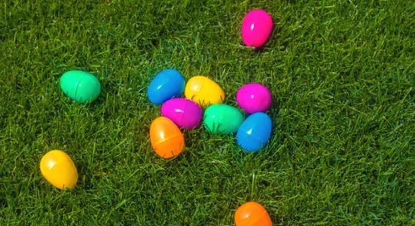 plastic Easter eggs laying on the grass