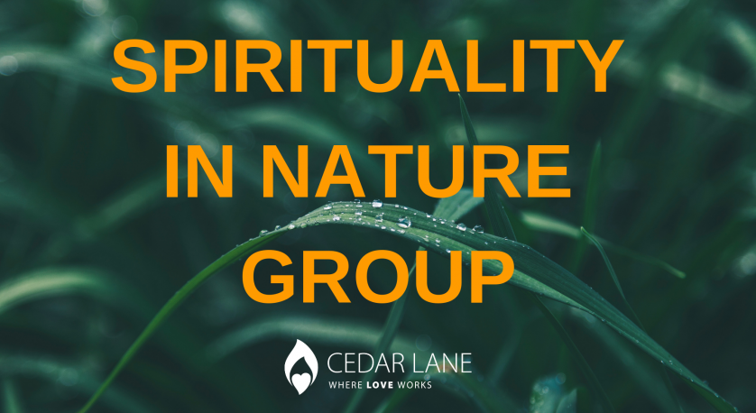 spirituality in nature graphic with greenery in the background