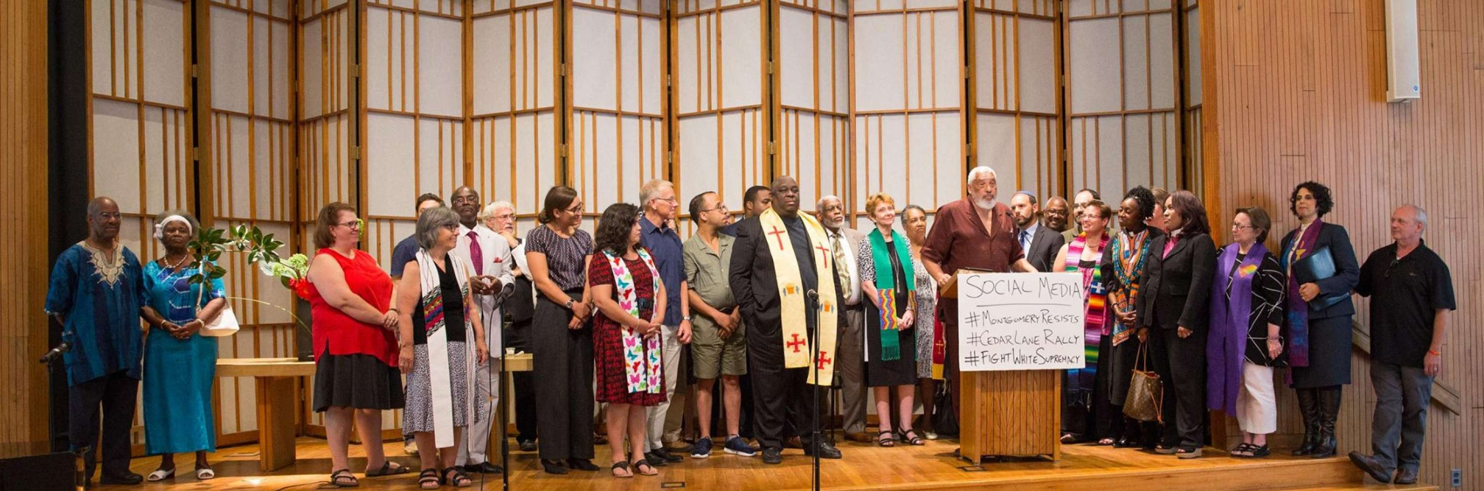 photo of all of the clergy and leaders at the Interfaith Love Over Hate Rally in August 2017