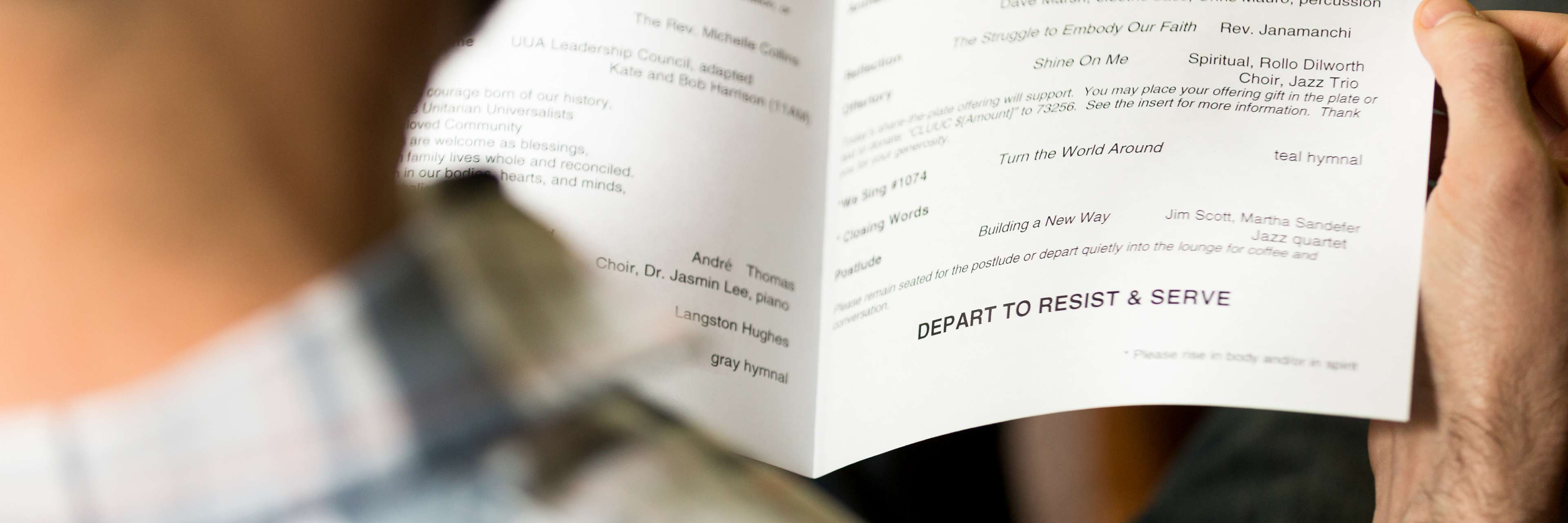 """View of weekly bulletin that says """"Depart to Resist and Serve"""""""