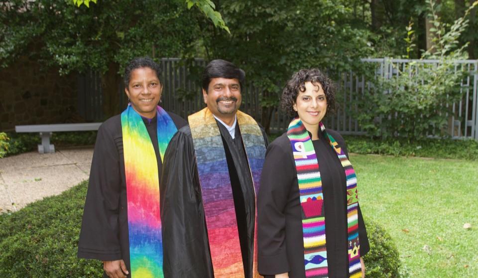 Group shot of Cedar Lane's ministers: Rev. Archene Turner, Rev. Abhi Janamanchi, and Rev. Katie Romano Griffin