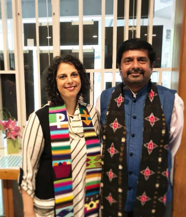 Rev. Abhi Janamanchi & Rev. Katie Romano Griffin in the Sanctuary on a Sunday