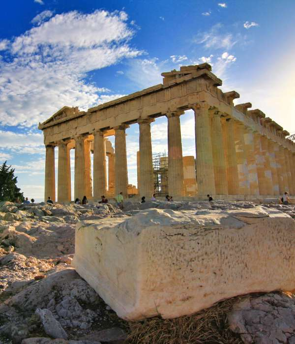 photo of ancient Greek building on a beautiful sunny day