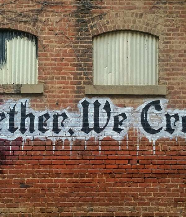 """mural that says """"together, we create!"""""""