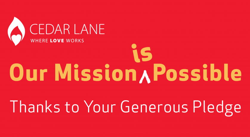 mission possible banner for annual pledge drive 2019-2020 at Cedar Lane
