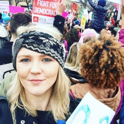 Sara Davidson at the Women's March in January 2017 in DC